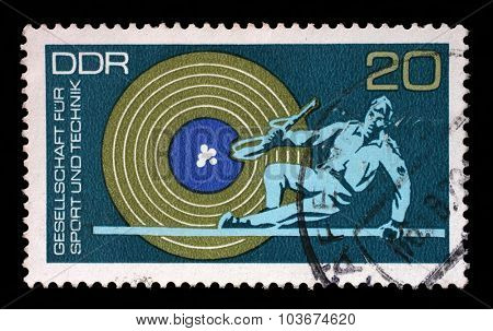 GDR-CIRCA 1972: A stamp printed in GDR from the Society for Sport and Technology issue, circa 1972.