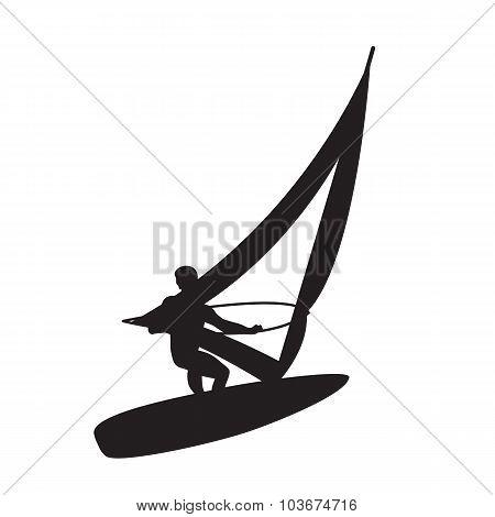 Silhouette Of A Windsurfer.