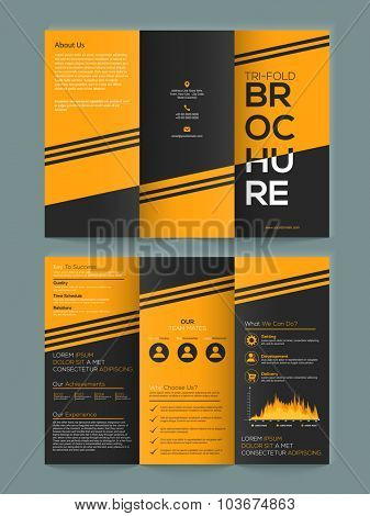 Professional stylish Two page Business Trifold, Banner, Flyer or Template with front and back presentation.