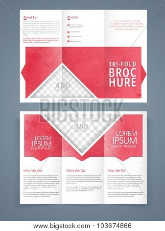 Front and back page presentation of professional Business Trifold Brochure, Template or Flyer design with space for your image.