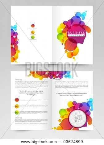 Glossy Business Brochure, Template or Flyer presentation, decorated with colorful abstract design and free space for image.