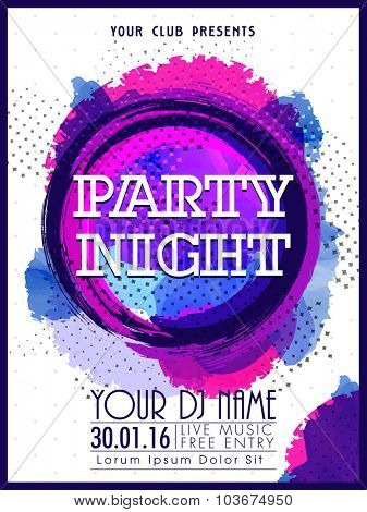 Creative abstract design decorated, Template, Banner or Flyer presentation for Party Night celebration.
