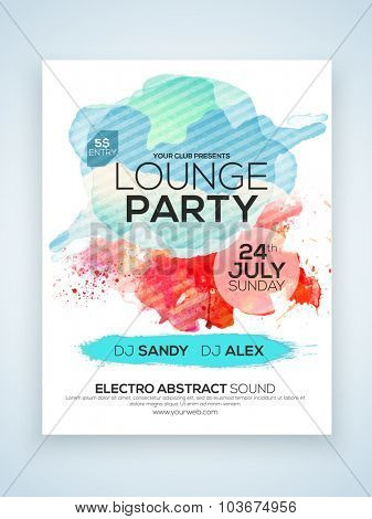 Creative stylish one page Flyer, Banner or Template for Lounge Party celebration with date and time details.