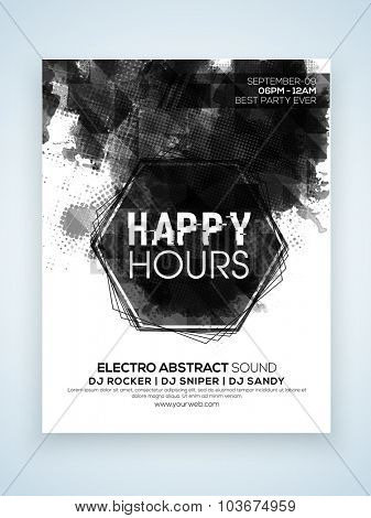 Stylish one page Flyer, Banner or Template design for Happy Hours party celebration.