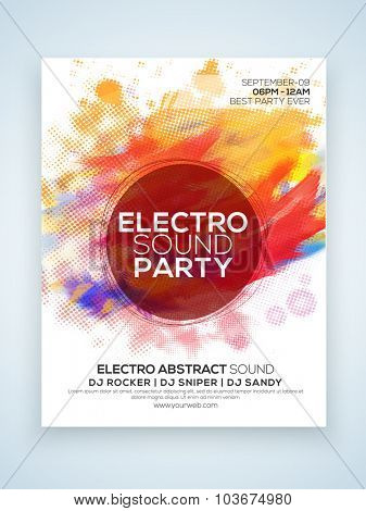 Electro Night Party celebration one page Flyer, Banner or Template with colorful splash.