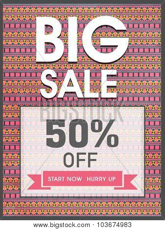 Big Sale with 50% discount offer, Creative Template, Banner or Flyer presentation decorated with beautiful floral design.