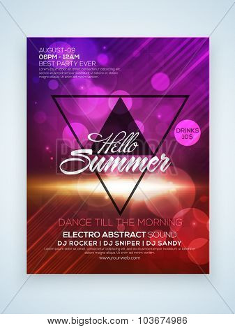Shiny elegant one page Flyer, Banner or Template for Summer Party celebration with date and time details.