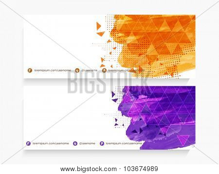 Glossy website header or banner set decorated with abstract design.