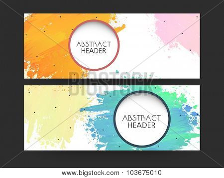Creative abstract website header or banner set with colorful splash.