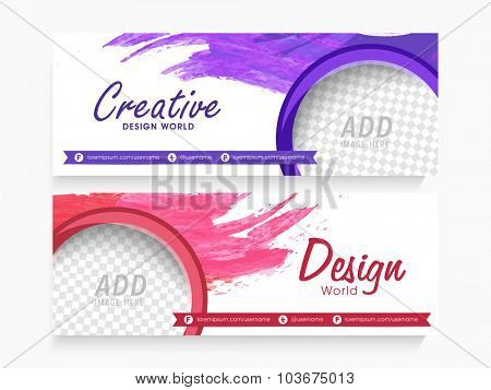 Creative website header or banner set with free space to add your image.