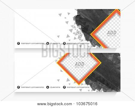 Creative abstract website header or banner set with space to add your images.