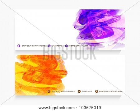 Abstract color splash decorated, glossy website header or banner set with space for your text.