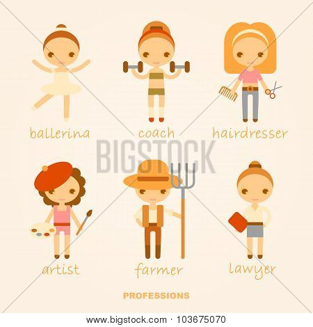 Vector cartoon illustrations of professions