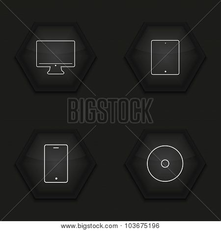 Vector modern gadget icons set