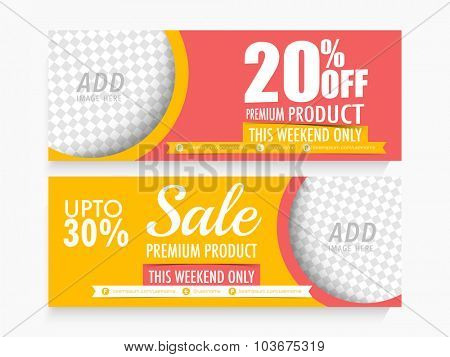 Creative Sale website header or banner set with discount offer and free space to add image.