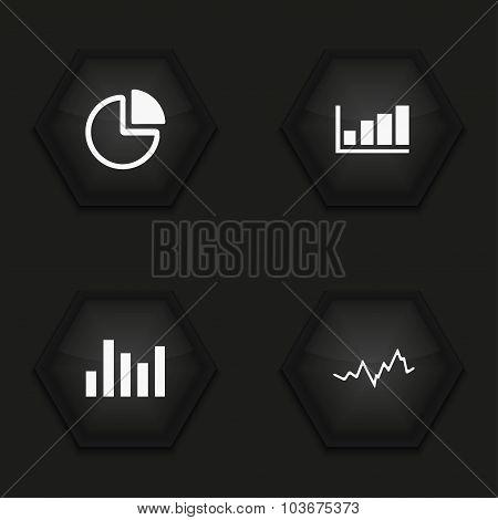 Vector modern graph icons set