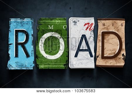 Road Word On Vintage Car License Plates, Concept Sign