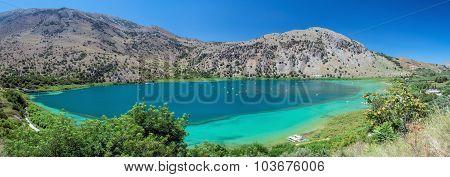 Panorama of Kournas lake at Crete island, Greece