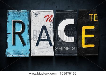 Race Word On Vintage Car License Plates, Concept Sign
