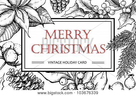 Vector Merry Christmas Hand Drawn Vintage Illustration For Xmas