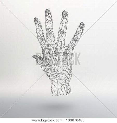 Mesh polygonal background hand of lines. The structural grid of polygons. Abstract Creative concept