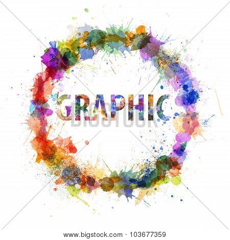 Graphic Concept, Watercolor Splashes As A Sign