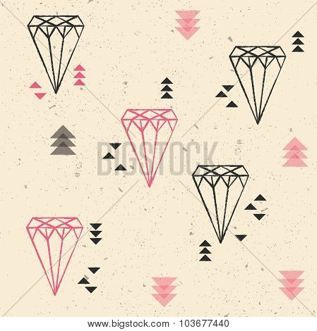 Geometric diamonds and triangles seamless pattern, vector illustration