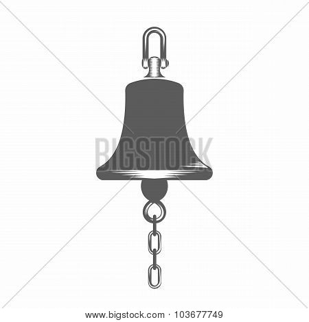Black and white vector illustration  ship bell silhouette