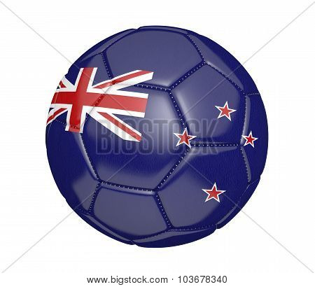 Football, also known as a soccer ball, with the national flag colors of New Zealand
