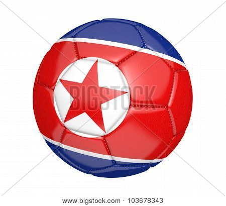 Football, also known as a soccer ball, with the national flag colors of North Korea