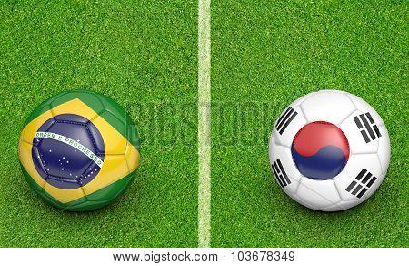 Team balls for Brazil vs South Korea soccer tournament match