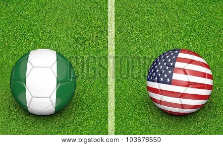 Team balls for Nigeria vs United States soccer tournament match