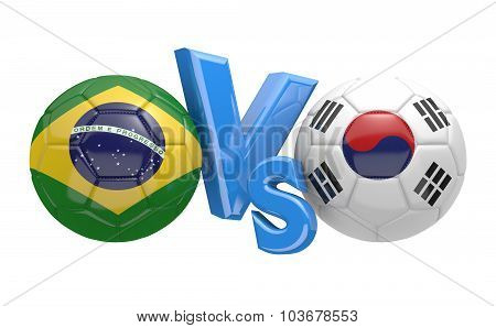 Soccer versus match between national teams Brazil and South Korea