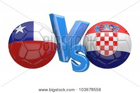 Soccer versus match between national teams Chile and Croatia