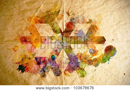 Watercolor Snowflake, Old Paper Background