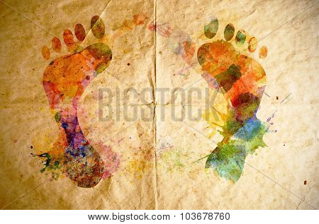 Watercolor Footprint, Old Paper Background