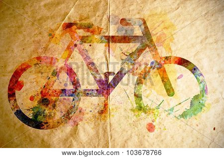 Watercolor Bicycle, Old Paper Background