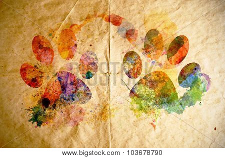 Watercolor Dog Footprint, Old Paper Background