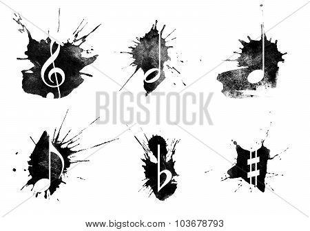 Ink Splatter, Music Icons Set On White Background