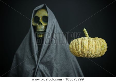 Halloween concept and background, Ghost with black background.
