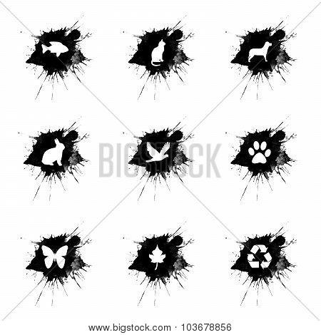 Ink Splatter, Ecology Icons Set On White Background