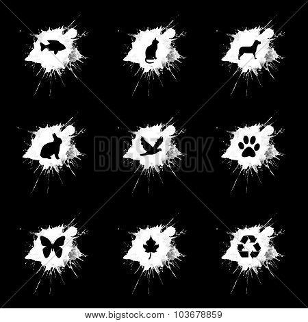 Ink Splatter, Ecology Icons Set On Black Background