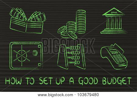 How To Set Up A Good Budget (design With Safe, Wallet, Coins, Bank)