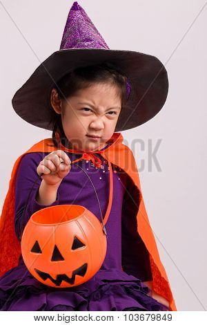 Kid In Halloween Costume On White / Kid In Halloween Costume / Kid In Halloween Costume, Studio Shot