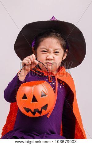 Girl In Halloween Costume On White / Girl In Halloween Costume / Girl In Halloween Costume, Studio S