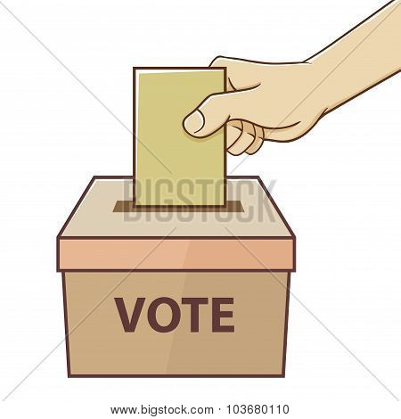 Hand Holding Card For Voting And Election