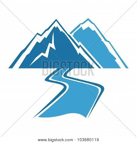 Mountains And River Simple Line Art