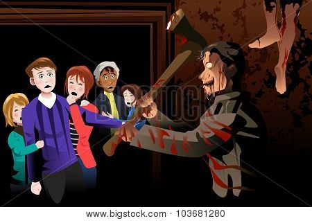 People Inside Scary House At Theme Park