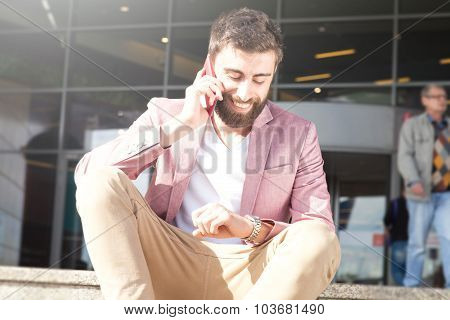 Fashionable Man Talking By Mobile Phone.