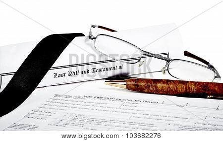 Will And Testament With Glasses And Pen